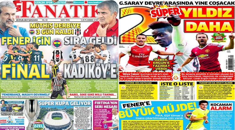 20 Eylül 2017 gazete manşetleri