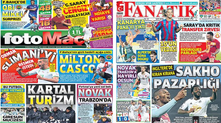 18 Ocak 2018 gazete manşetleri