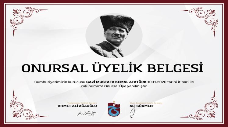 """Atatürk, Trabzonspor'a """"onursal üye"""" yapıldı"""